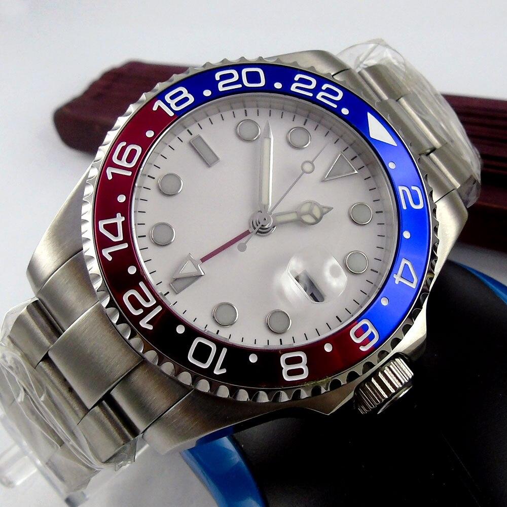 43mm Bliger White Sterile Dial GMT Date Sapphire Glass Luminous Hands Deployment Automatic Movement men's Watch цена