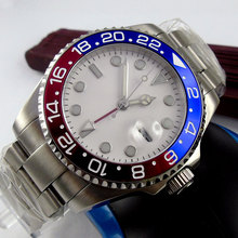 43mm Bliger White Sterile Dial GMT Date Sapphire Glass Luminous Hands Deployment Automatic Movement mens Watch