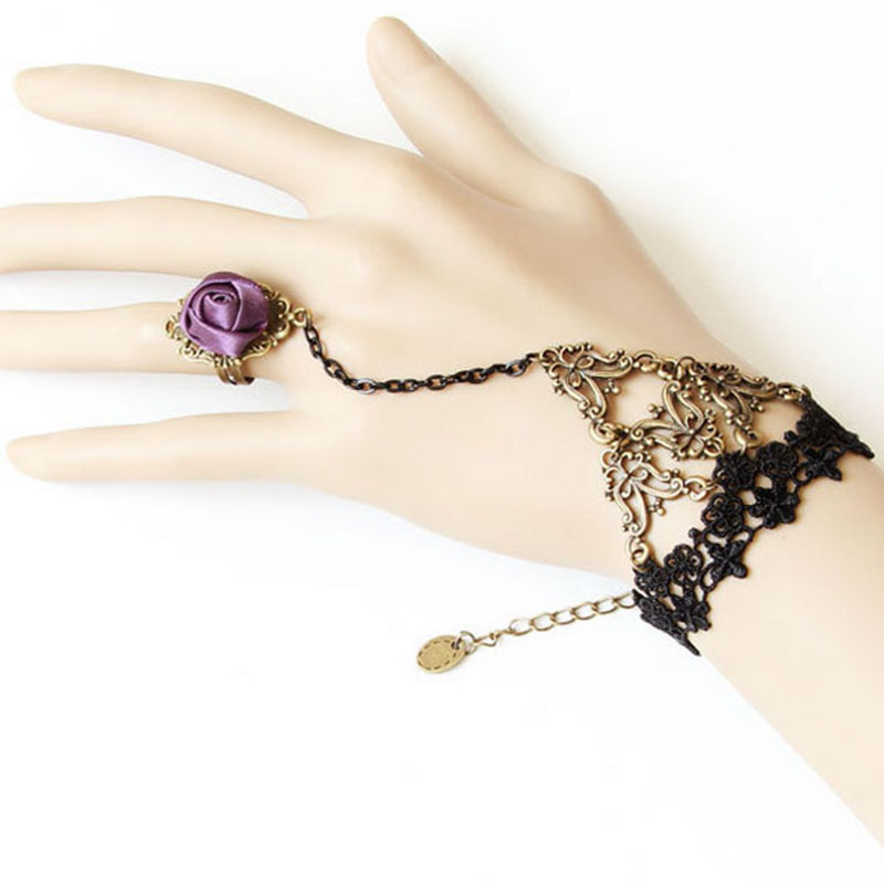 Vintage Style Ladies Gothic Lolita Black Lace Rose Dance Bracelet For Women LL@17
