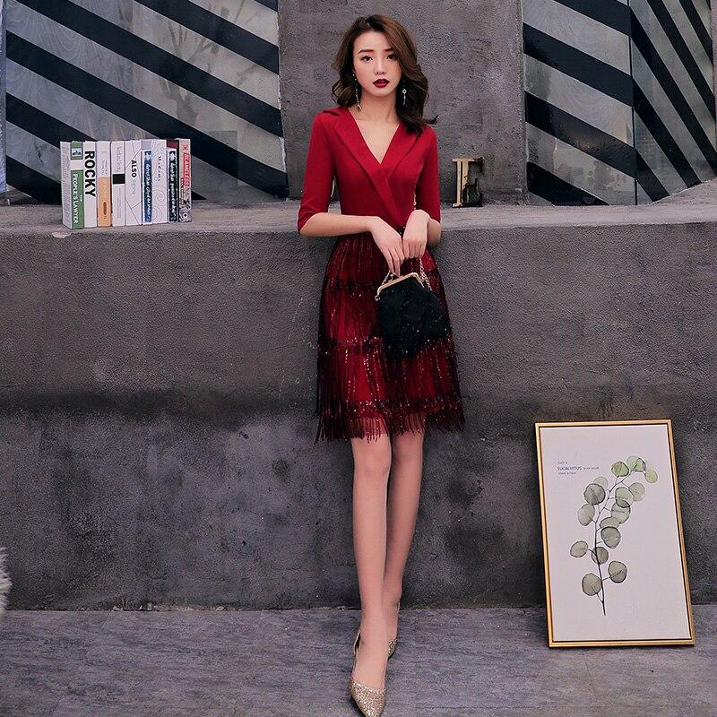 2020 Cocktail Dresses Deep V Neck Wine Red Dress Half Sleeve Tassel Homecoming Dress Formal Dress Short Prom Gown LF216