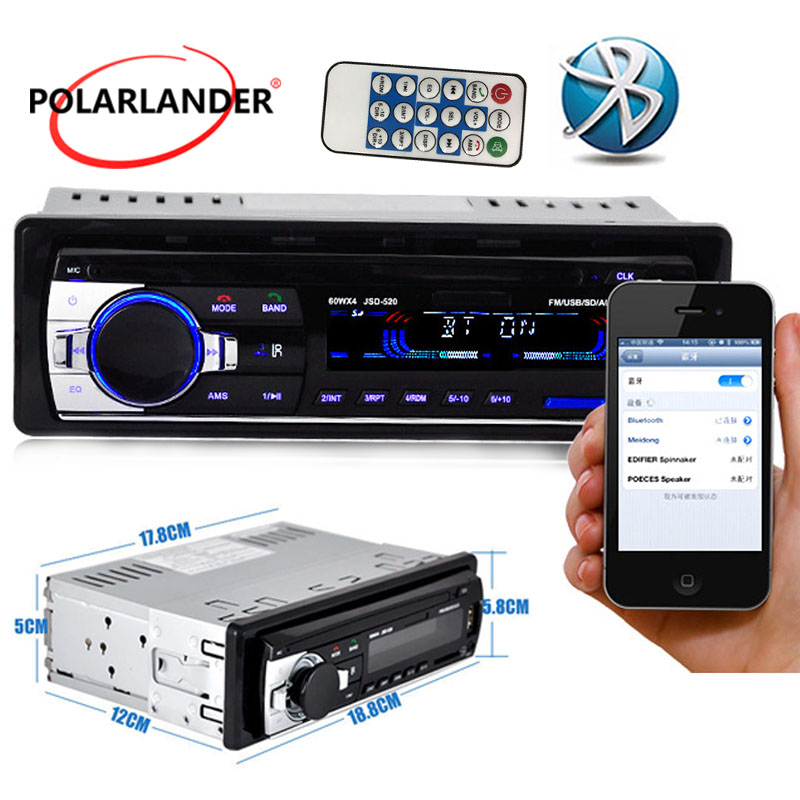 MP3/WMA/WAV player overseas warehouse hot sale 1 DIN 12V Car Stereo Radio Multiple EQ FM/SD/USB/AUX Bluetooth image