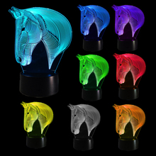 HNGCHOIGE Horse Bedroom 3D Illusion LED Night Light Changing Color Touch Table Lamp Desk недорого