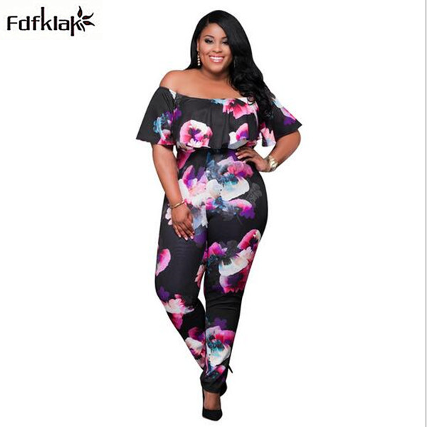 Women loose jumpsuit strapless long overalls plus size rompers womens jumpsuits printing bodysuit body feminino 3XL A0882