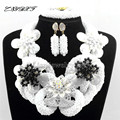 Conjuntos de Jóias De Cristal nigeriano Africano Beads costume Artesanal declaração colar brincos Casamento Africano Pulseira L1005