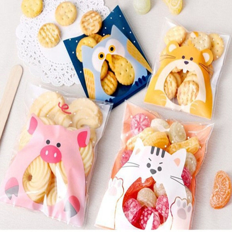 50Pcs 7*7cm Cute Cartoon Animals Self-adhesive Gifts Bags Wedding Christmas Party Suppiesl For Biscuits Candy Cookies Packaging