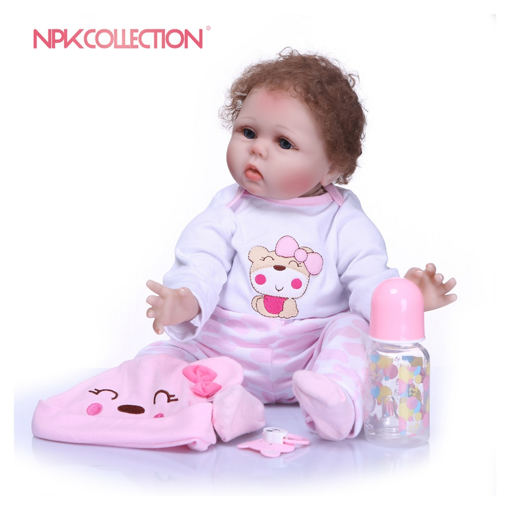 NPKCOLLECTION 55CM Silicone Reborn Baby Doll Handmade Baby Alive Soft Toys For Bouquets Doll Bebe Reborn Girls Playmate Gift Toy все цены