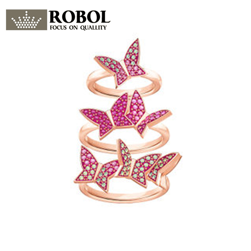 Robol Lilia Fashion Butterfly Shape Three Ring Set Sweet RingHigh Version Making 1:1 Copy Jewelry For Women sweet rhinestone openwork bowknot shape ring for women