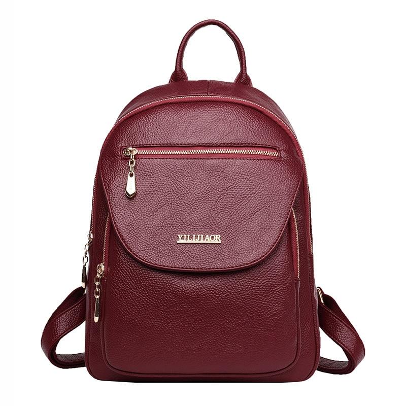 New Softback Backpack Female Pu Leather Backpack Vintage School Bags For Girls Back Pack Women Rucksack
