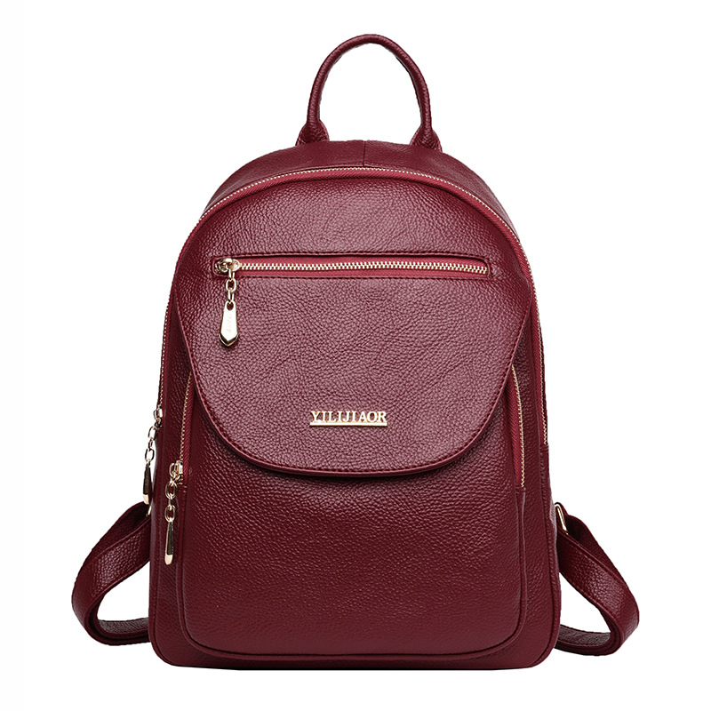 2018 New Softback Backpack Female PU Leather Backpack Vintage School Bags for Girls Back Pack Women Rucksack