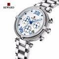 RECOMPENSA das Mulheres Relógios de Luxo Relógio De Prata Mulheres Relógio Do Esporte Do Cronógrafo Data Auto Mulheres Relógios Senhoras Relógio Relogio feminino