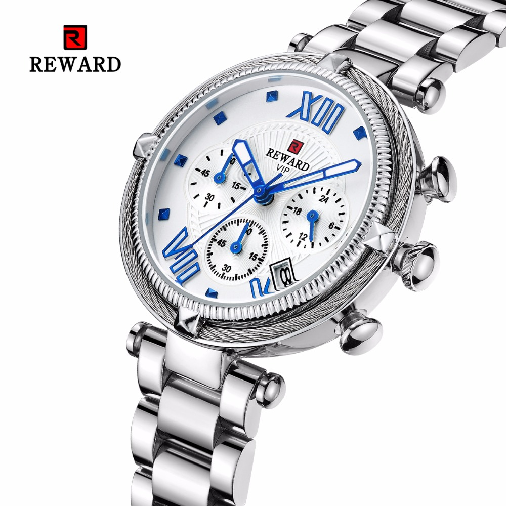 REWARD Women's Watches Luxury Silver Watch Women Sport Watch Chronograph Auto Date Women Watches Ladies Clock Relogio Feminino