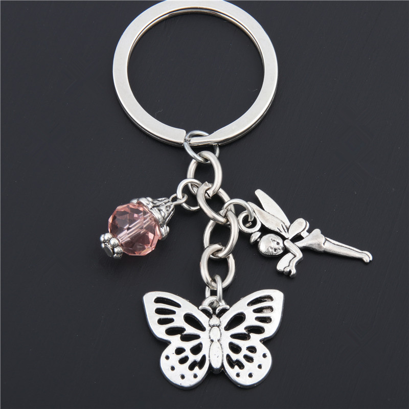 1pc Butterfly Keychain With Pink Bead Bag Charm Accessories Metal Key Chain Flower Fairy Pendants Car Key Ring Gift E1668
