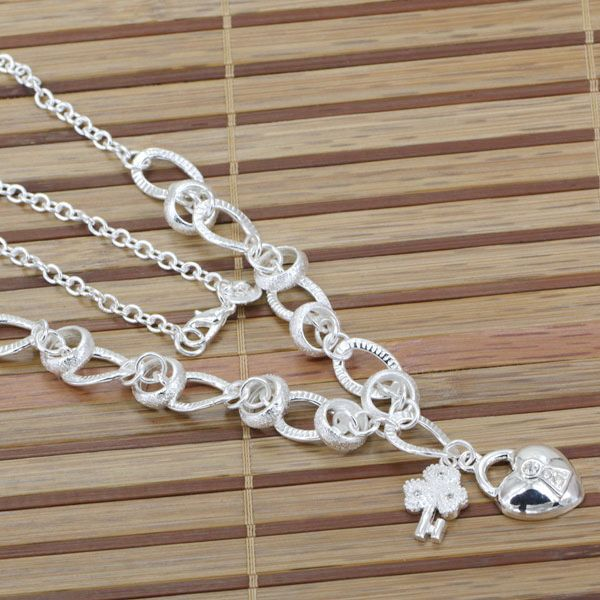 N190 fashion jewelry silver necklace 925 silver chains pendants n190 fashion jewelry silver necklace 925 silver chains pendants hanging inlaid stone heart lock 18inch kara ssaa in chain necklaces from jewelry aloadofball Image collections