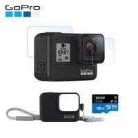 GoPro HERO7 черная Водонепроницаемая цифровая Экшн камера с рукавом GoPro + ремешок + карта памяти 128 ГБ + Защитная пленка для экрана