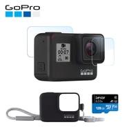 GoPro HERO7 Black Waterproof Digital Action Camera with GoPro Sleeve + Lanyard + 128GB Memory card + Screen Protector
