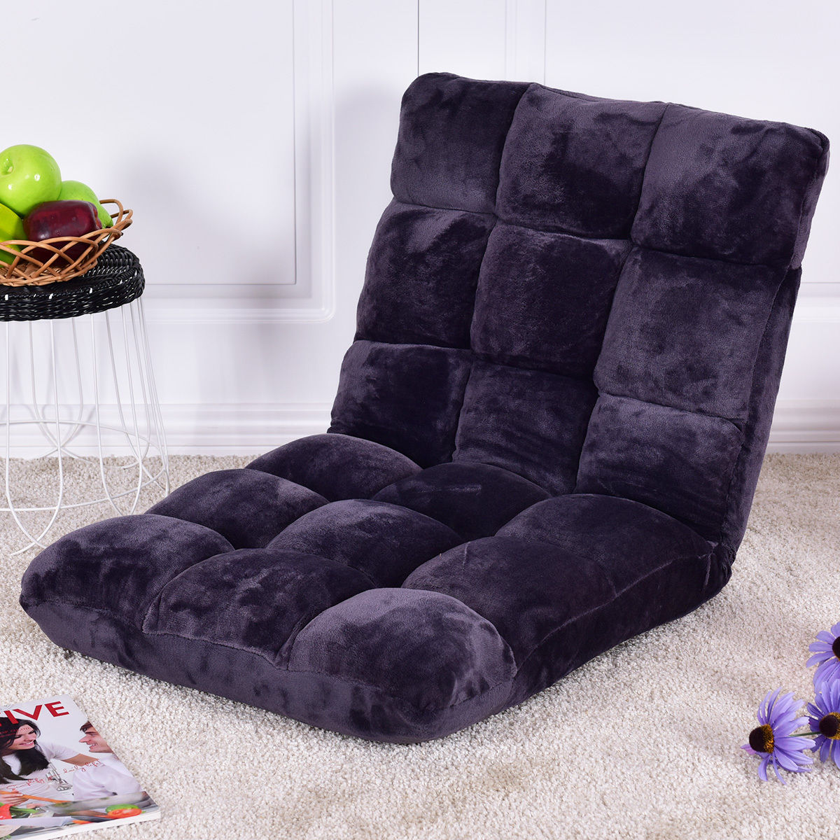 Giantex Modern Floor Folding Sofa Chair Lounger 5 Positon Adjustable Sleeper Bed Couch Soft Flannel Recliner  HW55460GR high quality folding sofa bed living room furniture lounge chair lazy sofa relaxing window corner sofa folding floor chair