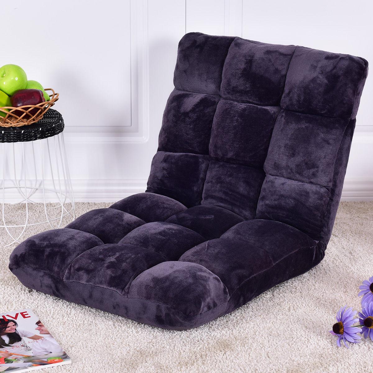 Современные напольные Giantex раскладной диван кресло шезлонг 5 позиционный Регулируемый раскладной диван-кровать мягкой Фланелевой кресло HW55460GR