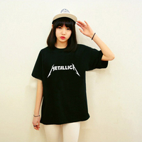 Unisex Loose Style Heavy Metal Music Tshirt Summer Women Letter Print Metallica T Shirt Female Printed