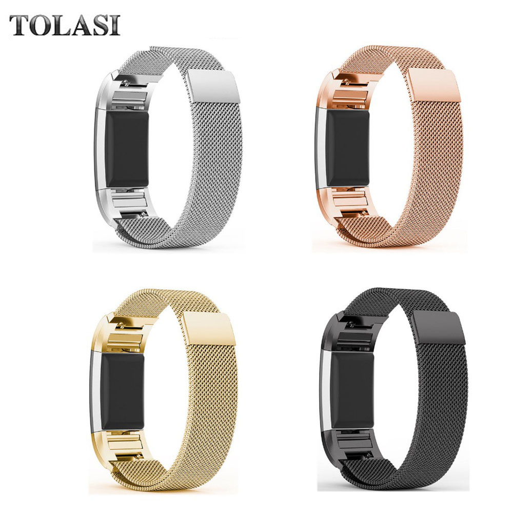 Luxury Magnetic Milanese Loop Wrist strap & Link Bracelet Stainless Steel Band Adjustable Closure for Fitbit Charge 2 watch band crested luxury magnetic milanese loop wrist strap