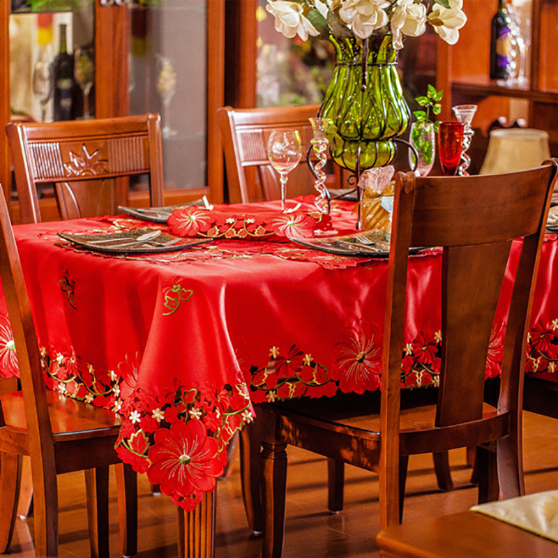 Europe Luxury Table Cloth Red Embroidered Table Cover Satin Fabric Wedding  Tablecloth Square And Round For