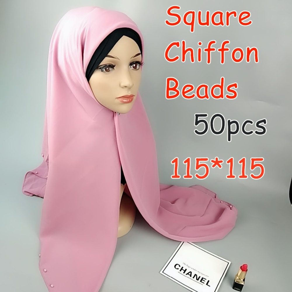 High quality beads square chiffon hijab 115 115cm wrap shawls women scarves scarf long shawl top