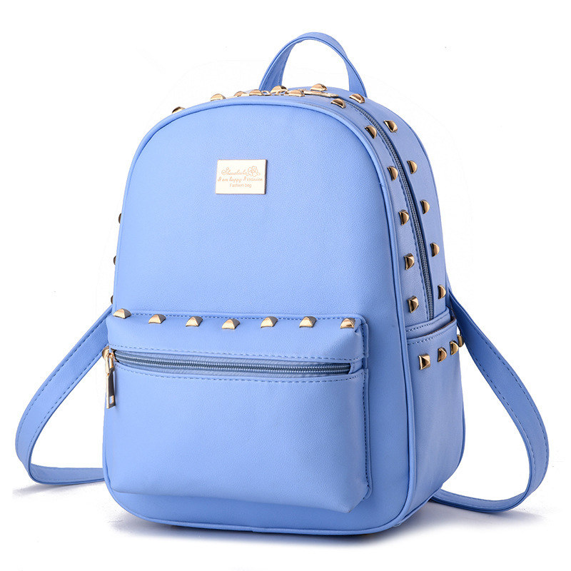 Fashion Light Blue PU Women Backpacks Traveling Bag Casual Schoolbag Rivets Zipper traveling light poems