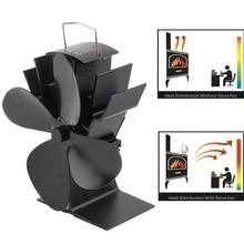 4 лопасти вентилятор для печи, работающий от тепловой энергии бревна деревянная горелка Ecofan тихий черный Домашний Вентилятор для камина эффективное распределение тепла