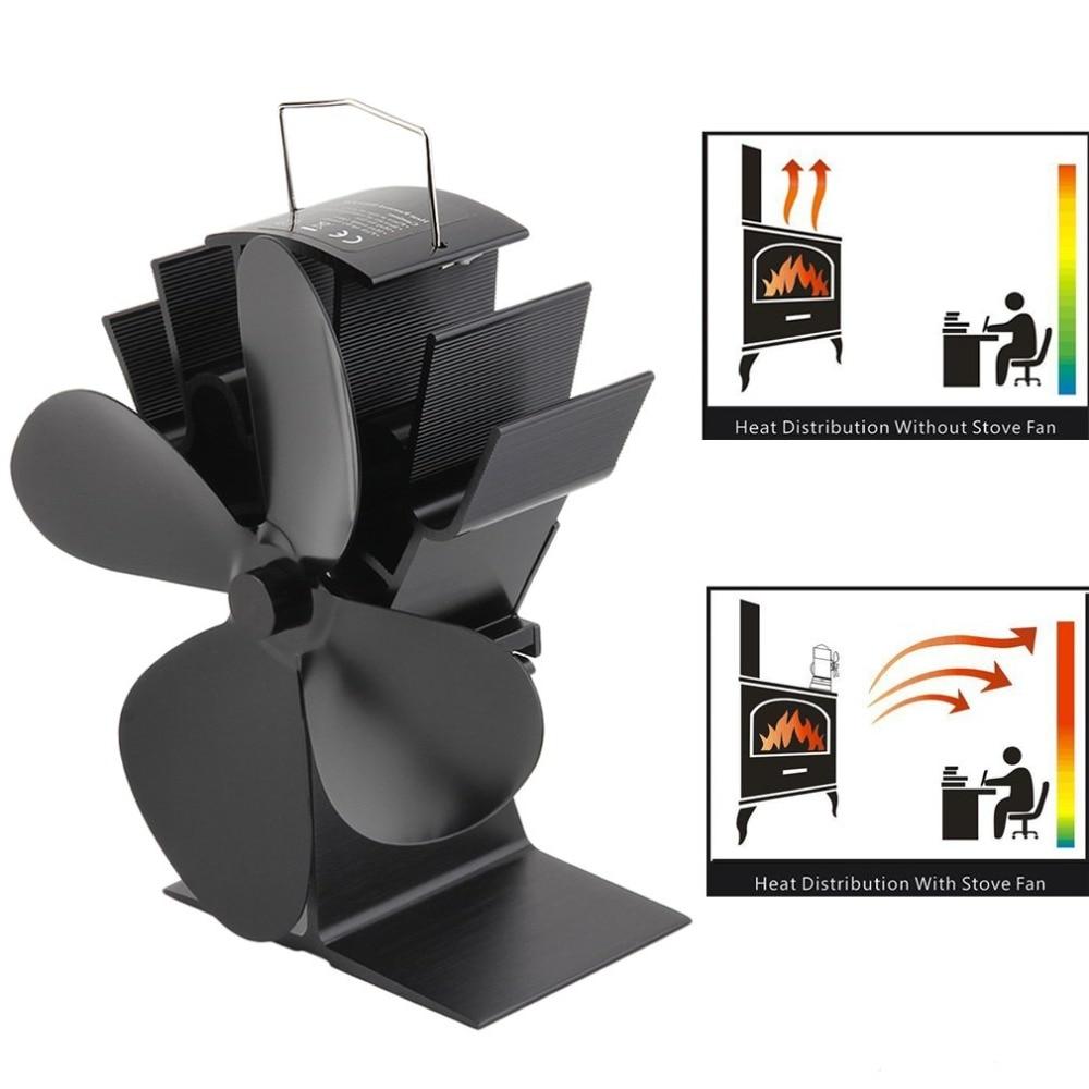 Stove-Fan Burner Fireplace-Fan Heat-Distribution Wood Heat-Powered Black 4-Blades Home