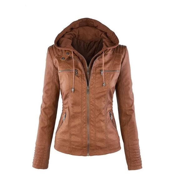 Fashion Womens Convertible Collar Faux Leather Jacket Detachable Hooded Jacket 2018 New