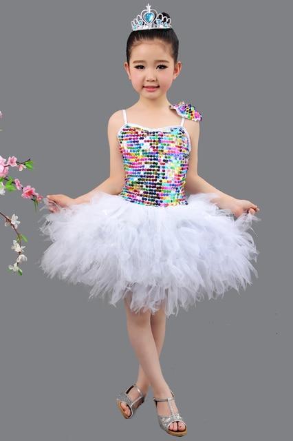 0aa16332be Children Sequined Dance Costumes Flower Girl Dress Princess Dress Girls  Show Dance Dress Student Chorus Clothes