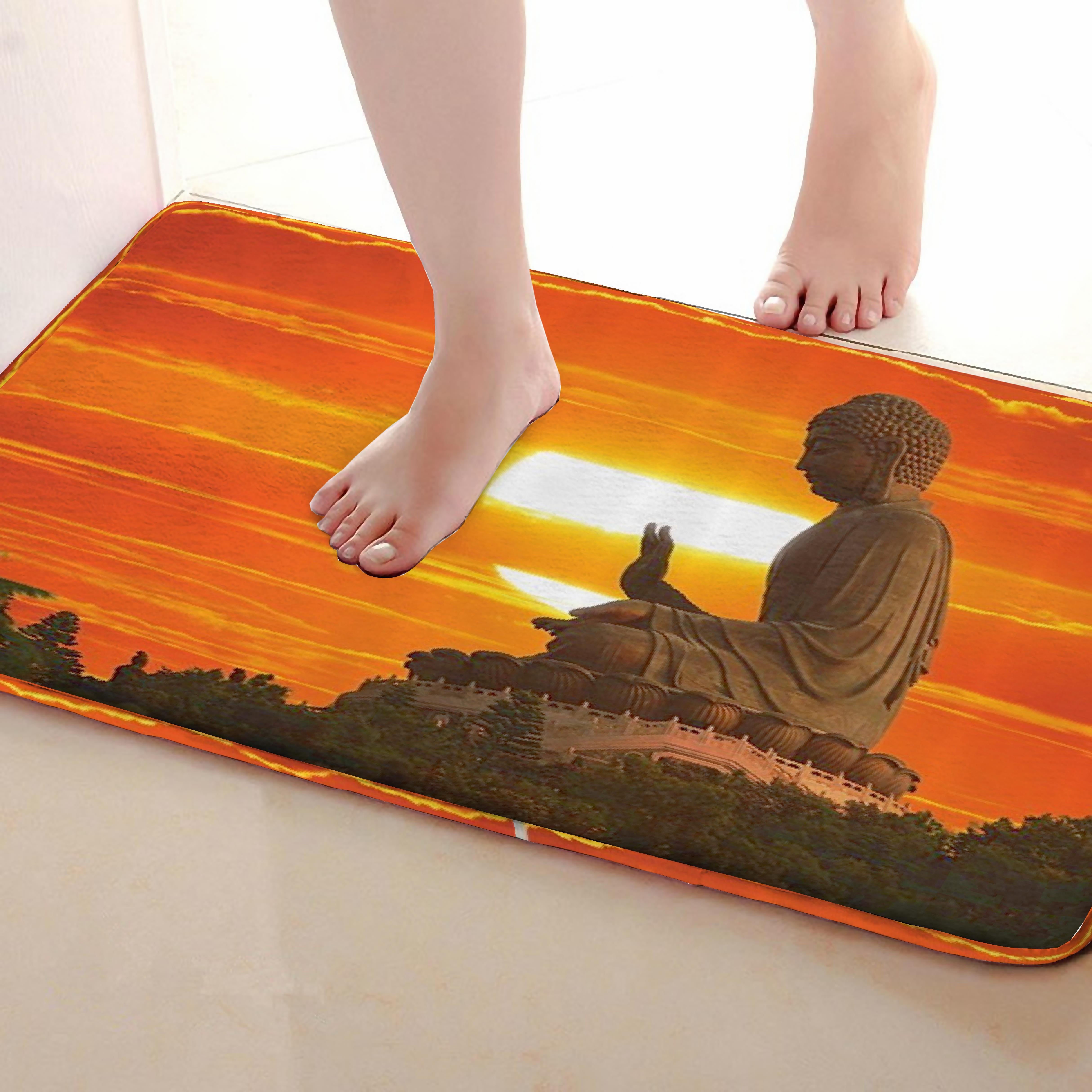 Buddha statue Style Bathroom Mat,Funny Anti skid Bath Mat,Shower Curtains Accessories,Matching Your Shower Curtain