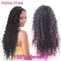 7A Brasileiro Curly Virgem Cabelo Glueless Full Lace Wigs Para Preto mulheres 150% Densidade Parte Dianteira Do Laço Perucas de Cabelo Humano Com Cabelo Do Bebê
