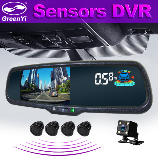 "GreenYi 5"" Car Dash Camera DVR Dual Lens Rearview Mirror Video Recorder 1080P Automobile DVR Mirror with 4 Parking Sensor"