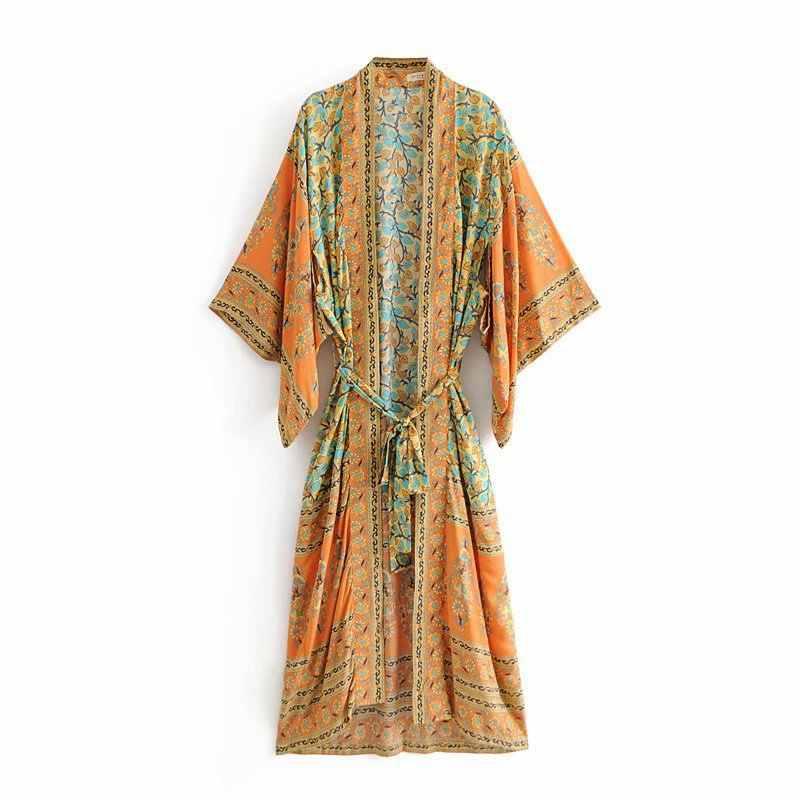 b4782f26d42ab BOHOFREE DELIRIUM MAXI KIMONO Red Floral Printed Long Cardigan Women Kimono  Gypsy Style Sashes Maxi Hippie Kimono Dress Femme