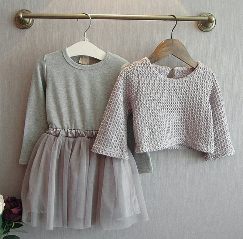 Fashion 2 to 10 year old children clothes grey dress girls spring autumn baby girl clothes
