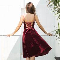Wankou 2018 Sexy Sling Phụ Nữ A-Line Midi Dress Mềm Vàng nhung Trở Lại Ren Với Bandage Thanh Lịch Nữ Đảng Vestidos 0126