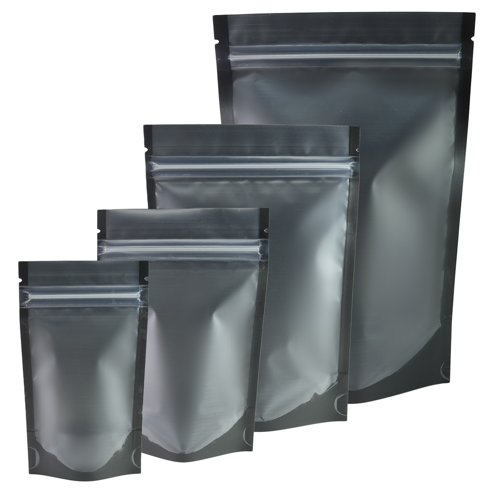 Matte Black Clear Front Zip Lock Stand Up Pouches Coffee Bean packaging Kitchen Storage Bag food pouch 100pcs