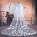 2016 Real Photos 3m*3 Bridal Veil Wedding Accessories White Wedding Veil Lace vintage Luxury long Handmade flowers Veu De Noiva
