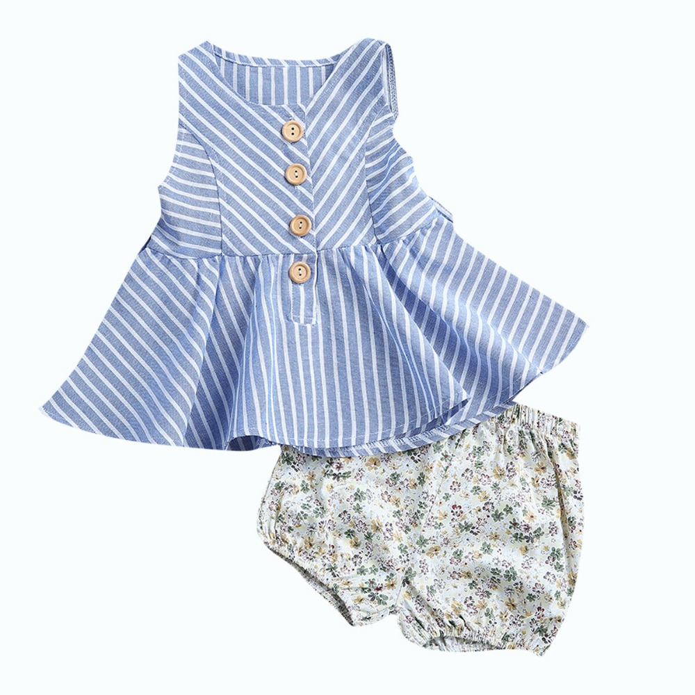 2 Stücke Kinder Baby Bekleidung Set Ärmel Taste Gestreiften Kleid + Dreieck Shorts Kind Baumwollkleidung Sunsuit Outfits Sets SorgfäLtige FäRbeprozesse