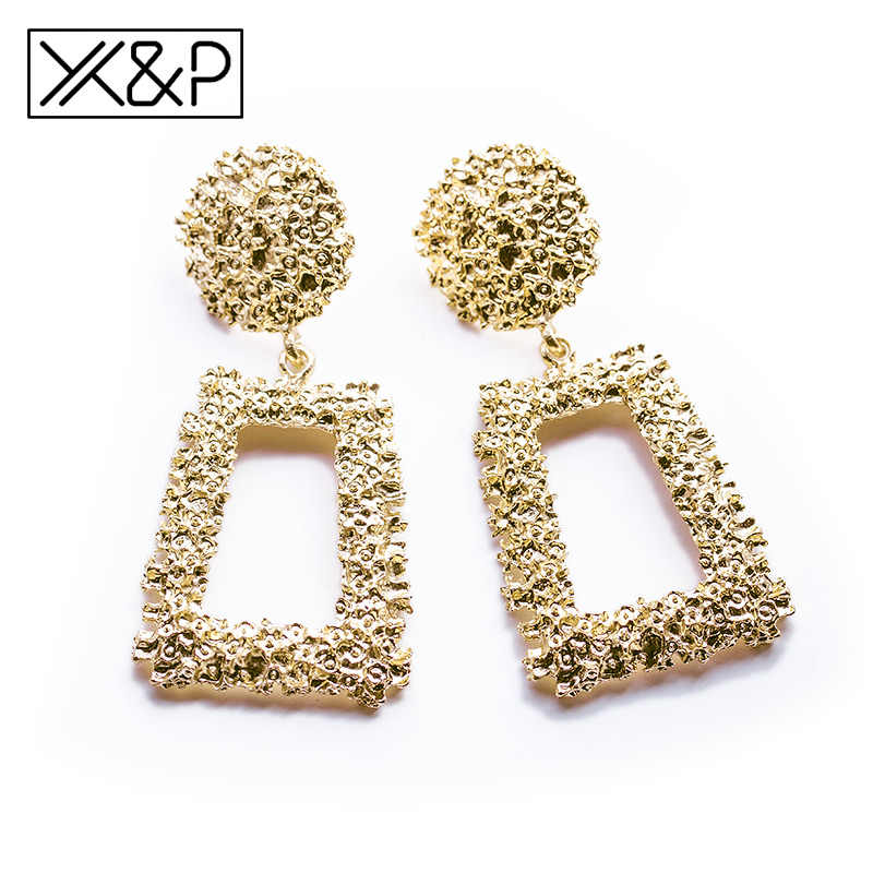 X&P Statement Geometric Gold Vintage Earrings for Women Fashion Big Long Rose Gold Silver Metal Dangle Earring Za 2019 Jewelry