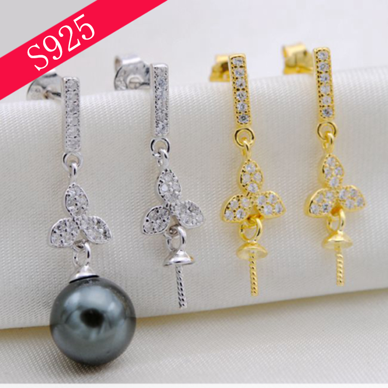 925 Sterling Silver Pearl Jewelry Making Accessories Plant Shape Inlaid Zircon Stud Earring Romantic Jewellery