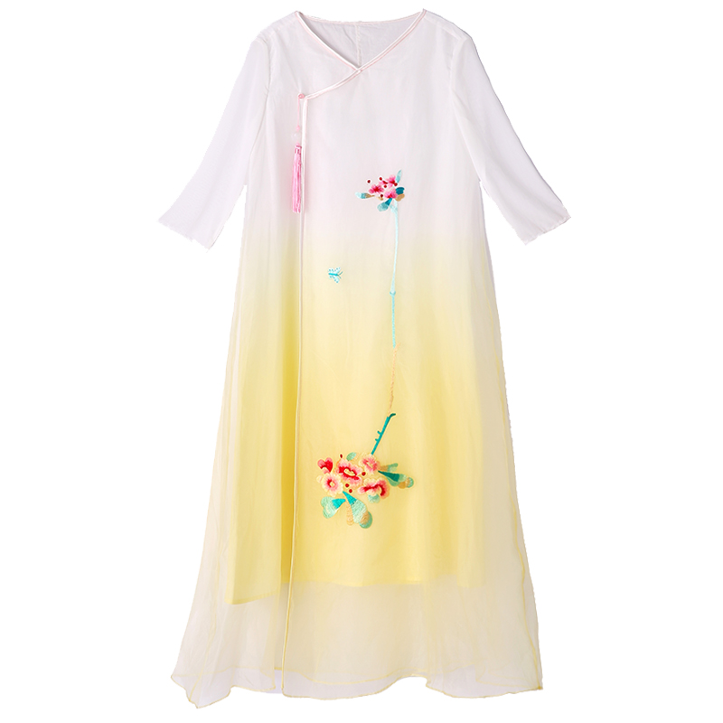 Women beautiful dresses summer China style vintage royal embroidery floral elegant lady loose yellow organza party dress S-XXL