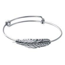 Стиль Ретро сплава Серебряный браслет листьев Модные Подвески перо Браслеты Винтаж простые браслеты для Для женщин
