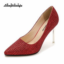 LLXF Spring stilettos Sequins Ultra High 10cm Thin Heels wedding Shoes woman Sequins SM Pointed Toe Party pumps Plus:35-45 46