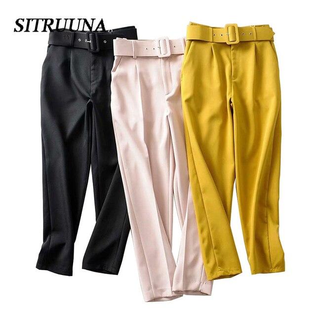 Stiruuna cintura alta senhora do escritório com cinto calças femininas causal preto harem calças com faixas elegante senhora calças cores leggings