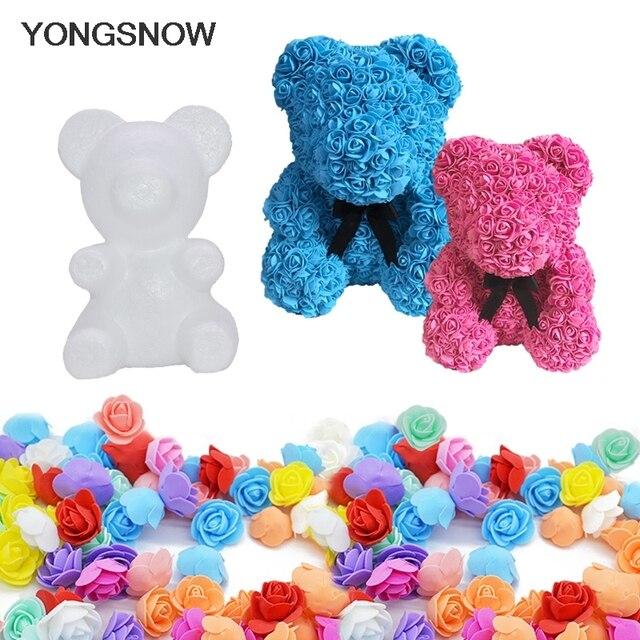 Rose Bear Flower Bear Foam Bear Mold Artificial Rose Flower Mold Modeling Polystyrene Styrofoam Bear Mother's Day Flower Gift