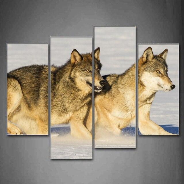 4 Unids/set Enmarcada Animales dos corrientes de los lobos grises ...