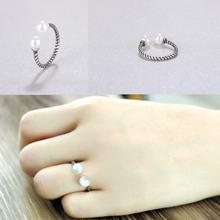 Серебряное Винтажное кольцо sr347 жемчужное с витым веревочным