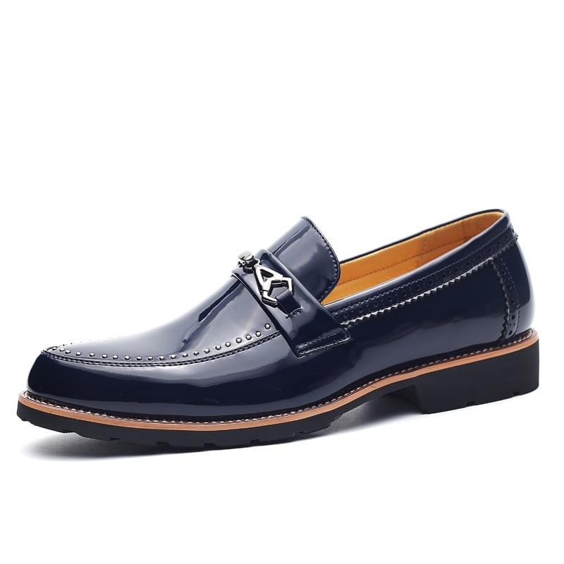 brown De Dos Black Deslizamento Couro Sapatas Formais Vestido Sapatos Homens red Em blue PAqfqBw