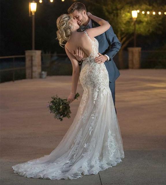 Lace Appliques Mermaid Bridal  Wedding Dress